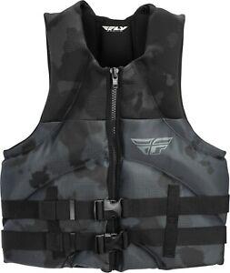 Mens NEOPRENE Life Jacket Fly Racing Vest Zip w Buckles Black Camo SM-2XL NEW