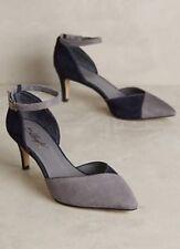 NEW Anthropologie Chantant Suede Colorblock Heels Size 39 Navy/Gray