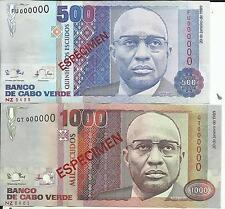 Cape Verde Lot Set 500-1000 Escudos 1989 P 59 -P 60 Specimen. Unc. 5Rw 15Feb