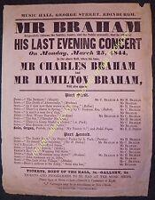 1844 EDINBURGH MUSIC HALL George St, BRAHAM's last Concert handbill