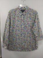Lands End Petite XL Floral Cotton/Linen Blend LS Button Up Shirt NWT $59.95