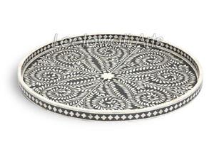 Indian Handmade Bone Inlay Round Serving Tray in Black