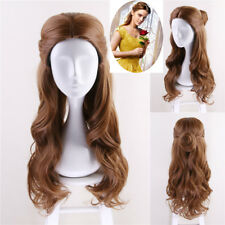 2017 Beauty and the Beast Belle Princess Cosplay Wig Women Long Wavy Adult Hair