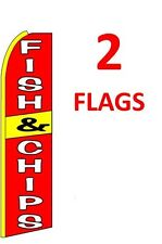 2 (two) Fish & Chips 11.5' Swooper #1 Feather Flags Banners