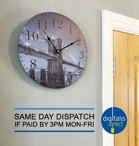 New York Brooklyn Bridge Kitchen Wall Clock 30cm Diameter