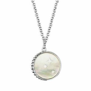 Sterling Silver Necklaces 41-45cm Rhodium-Plated Mother Of Pearl/Star Disc