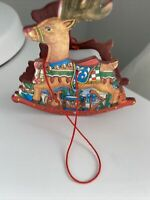 Rocking Reindeer Wood Ornament Music Box Christmas Tree Wind Up Horse Deer