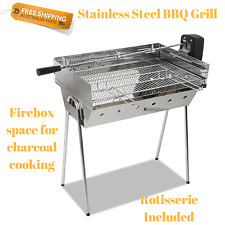 BBQ Spit Roaster Outdoor Charcoal Portable Cooking Rotisserie Roasting Meat NEW