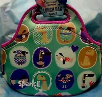 Spencil Cooler Lunch Bag Washable,School Office Picnic-Neoprene Zip Spotty Dog
