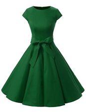 Dressystar Vintage GREEN 1950's Retro Rockabilly Dress Cap-Sleeve Size XS S