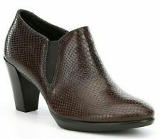 Ecco Brown Leather Slip-on Shape 55 Plateau Ankle Boots Booties Size 10M Euro 41