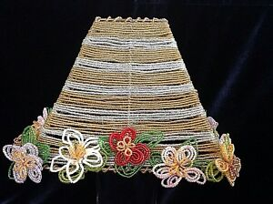 """Beaded Lampshade Gold & Clear Glass Beads w Attached Flowers 8"""" X 3"""" X 6.5"""" Chic"""