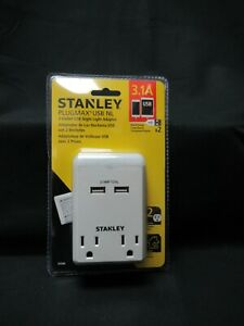 Stanley 30386 Plugmax 2 outlet USB Nightlight Adapter