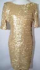 Nwt ark co Gold Sequin Glittery Fitted Dress New Year Holiday Party Dress Size L