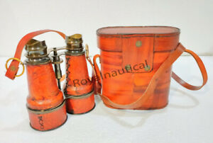 Nautical Antique Brass Binocular With Leather Grip Gift Case Vintage Collectible