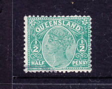 Qld: 1890-6 3Rd Side Faces 1/2d Green Sg 208-9? Fine Used