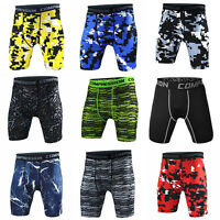 Mens Athletic Compression Underwear Running Tights Athletic Bottoms Camo Shorts