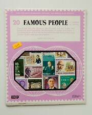Famous People Stamp Collection, SEALED PACKET 20 All  Different Postage Stamps