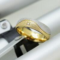 6mm  titanium cz dull gold silver wedding engagement ring band size T  alj72601