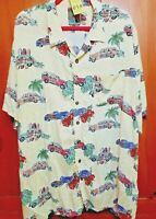 Pineapple Connection Mens Size 2X Tall Hawaiian Woodie Cars Floral Shirt