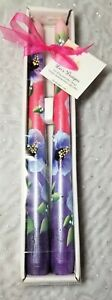 """Tapered Candle Sticks Purple & Blue Hibiscus Hand Painted 10"""" Set Of 2"""