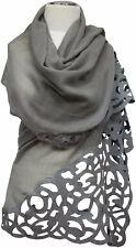 Abendstola Schal 100% Wolle wool scarf écharpe grey uni mit Filz Grau