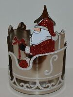 BATH BODY WORKS RED GLITTER SANTA SLEIGH LARGE 3 WICK CANDLE HOLDER SLEEVE 14.5