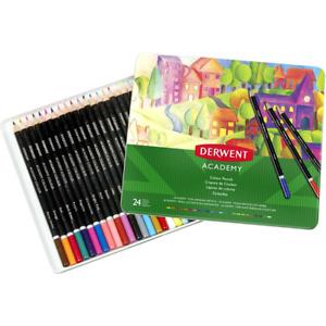 NEW Derwent 24 ACADEMY Colour Pencils Set Tin Case Colouring Coloured Pencil