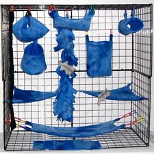 Blue Tie Dye*15 Pc Sugar Glider Cage set * Rat * double layer Fleece