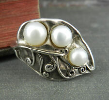 Hagit Gorali Sterling Silver Leaf with Pearls Ring