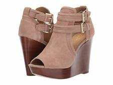 NEW MICHAEL Michael Kors Blaze Wedge Sandal, Tan Suede, Women Size 9 M  $165