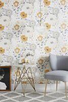 York Wallcoverings Spontaneity Floral Metallic Gold Black Silver Cream Wallpaper