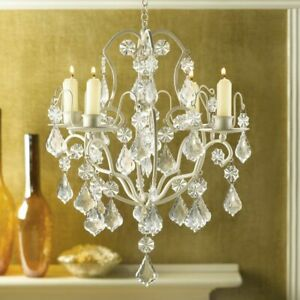 Jeweled Ivory Baroque Hanging Chandelier Candle Holder Crystal Candelabra