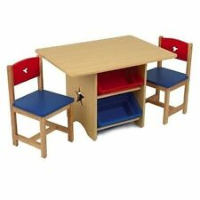 Kidkraft Star Table and 2 Chair Set With 4 Storage Drawers Bins Kids Furniture