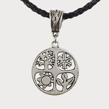 bijou celtique gothique breizh Pendentif  4 saisons sur collier en cordon tressé