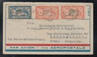France 1929 AEROPOSTALE Airmail Cover Merson Paris to Porto Alegre BRAZIL