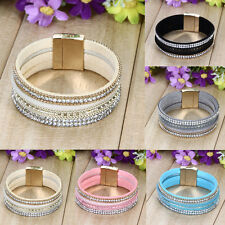 Vintage Velvet Leather Crystal Wrap Wristband Cuff Punk Magnetic Bracelet Bangle