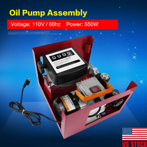 110V Electric Oil Diesel Fuel Transfer Pump W/ Hose Nozzle FREE SHIPPING
