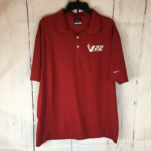 Nike Golf V 22 Bell Boeing Embroider Polo Shirt Men XL Short Sleeve Dri Fit Red