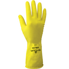 Household Dishwashing Cleaning Gloves, Yellow, Flock Lined, Chemical Resistant