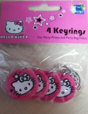 Hello Kitty Key Chain Party Filler Pack of 4 Key Rings Pink Round Kitty Face