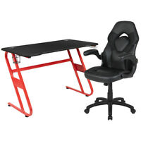 Red Gaming Desk and Black Racing Chair Set with Cup Holder and Headphone Hook