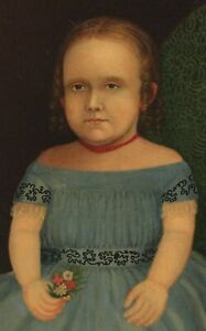 1856 Antique 19thC American Folk Art Portrait Oil Painting Young Girl w/ Flowers