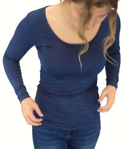 Bamboo Fitted Long Sleeve Tee with flattering scoop neck. XS-XL 5 colours.