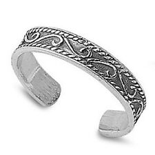 Adjustable Solid 925 Sterling Silver Antique Bali Design Swirl Toe Ring (3mm)