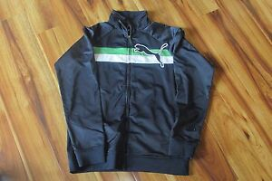 Puma Boys Navy Blue/Green/White Full Zip Athletic Track Jacket Sz XL