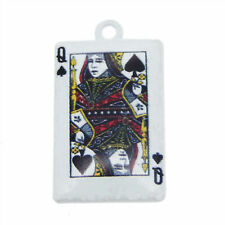 10pcs/lot Alloy Jewelry Pendants White Diamond Queen Poker Charms Accessories