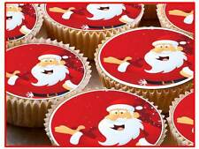 24 Father Christmas Santa Xmas PRE CUT Fairy Cup Cake Toppers Edible Rice Paper