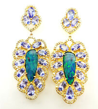 7.45 CTW Natural Diamond Opal and Tanzanite Earrings 22k Yellow Gold Certified