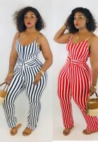 Women Spaghetti Strap Sleeveless Stripes Print Casual Club Party Long Jumpsuit